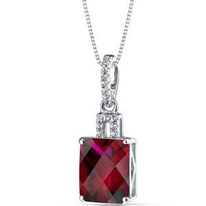 Radiant shape red ruby with round diamond necklace